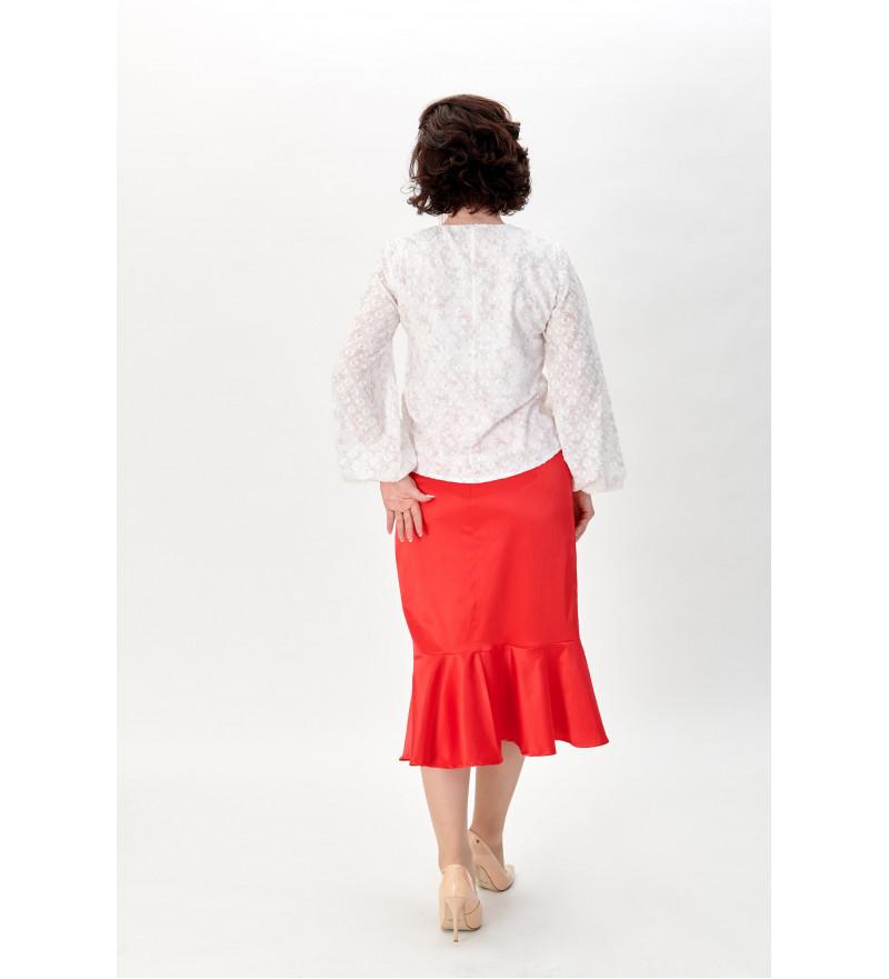 Czerwona spódnica z falbaną RITA